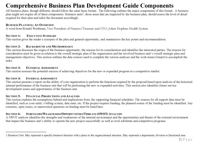Comprehensive Business Plan Development Guide  Johns Hopkins